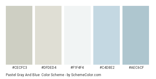Pastel Gray and Blue - Color scheme palette thumbnail - #cecfc3 #dfded4 #f1f4f4 #c4d8e2 #aec6cf