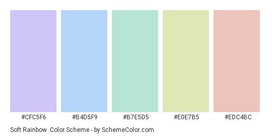 Soft Rainbow - Color scheme palette thumbnail - #cfc5f6 #b4d5f9 #b7e5d5 #e0e7b5 #edc4bc