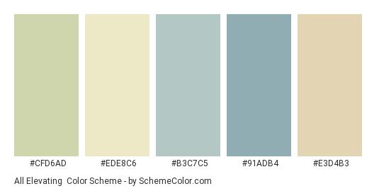 All Elevating - Color scheme palette thumbnail - #cfd6ad #ede8c6 #b3c7c5 #91adb4 #e3d4b3