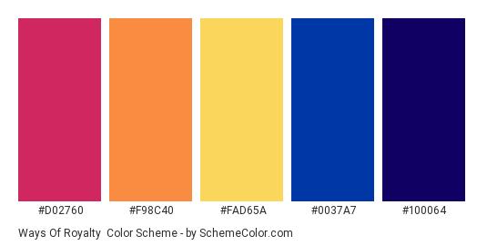 Ways of Royalty - Color scheme palette thumbnail - #d02760 #f98c40 #fad65a #0037a7 #100064