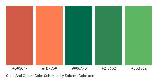 Coral and Green - Color scheme palette thumbnail - #d05c47 #fd7c50 #006a4d #2f8652 #5db662