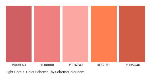 Light Corals - Color scheme palette thumbnail - #d05f63 #f08080 #fda7a3 #ff7f51 #d05c46