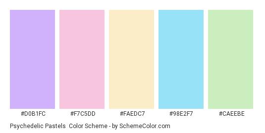 Psychedelic Pastels - Color scheme palette thumbnail - #d0b1fc #f7c5dd #faedc7 #98e2f7 #caeebe