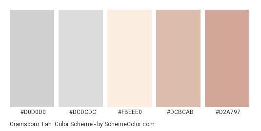 Grainsboro Tan - Color scheme palette thumbnail - #d0d0d0 #dcdcdc #fbeee0 #dcbcab #d2a797