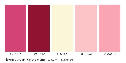 Flavo Ice Cream - Color scheme palette thumbnail - #d14475 #901432 #fcf6d9 #fdc4c8 #faa5b4