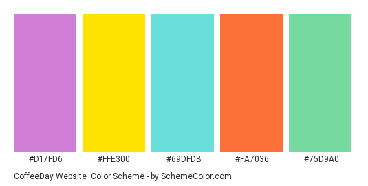 CoffeeDay Website - Color scheme palette thumbnail - #d17fd6 #ffe300 #69dfdb #fa7036 #75d9a0