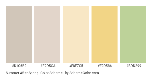 Summer after Spring - Color scheme palette thumbnail - #d1c6b9 #e2d5ca #f8e7c5 #f2d586 #bdd299