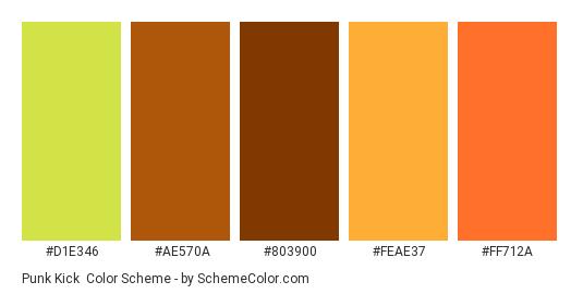 Punk Kick - Color scheme palette thumbnail - #d1e346 #ae570a #803900 #feae37 #ff712a