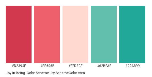 Joy In Being - Color scheme palette thumbnail - #d2394f #ee606b #ffd8cf #62bfae #22a899