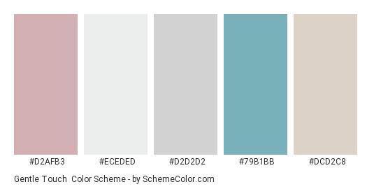 Gentle Touch - Color scheme palette thumbnail - #d2afb3 #eceded #d2d2d2 #79b1bb #dcd2c8