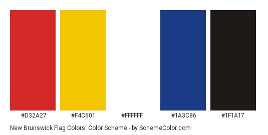 New Brunswick Flag Colors - Color scheme palette thumbnail - #d32a27 #f4c601 #ffffff #1a3c86 #1f1a17