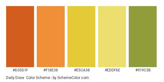 Daily Dose - Color scheme palette thumbnail - #d35d1f #f18e38 #e5ca38 #eddf6e #919c3b