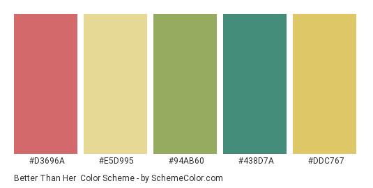 Better Than Her - Color scheme palette thumbnail - #d3696a #e5d995 #94ab60 #438d7a #ddc767