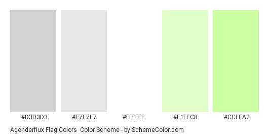 Agenderflux Flag Colors - Color scheme palette thumbnail - #d3d3d3 #e7e7e7 #ffffff #e1fec8 #ccfea2