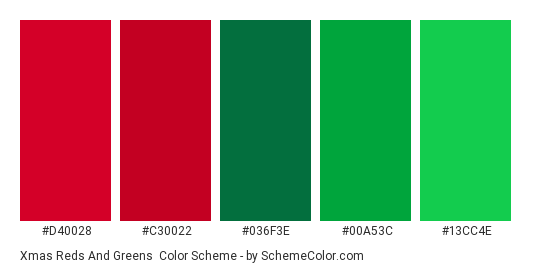 Xmas Reds and Greens - Color scheme palette thumbnail - #d40028 #c30022 #036f3e #00a53c #13cc4e