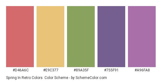 Spring in Retro Colors - Color scheme palette thumbnail - #d46a6c #e9c377 #89a35f #755f91 #a96fa8
