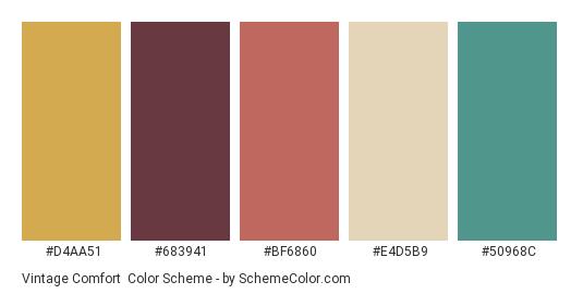 Vintage Comfort - Color scheme palette thumbnail - #d4aa51 #683941 #bf6860 #e4d5b9 #50968c