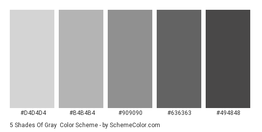 5 Shades of Gray - Color scheme palette thumbnail - #d4d4d4 #b4b4b4 #909090 #636363 #494848