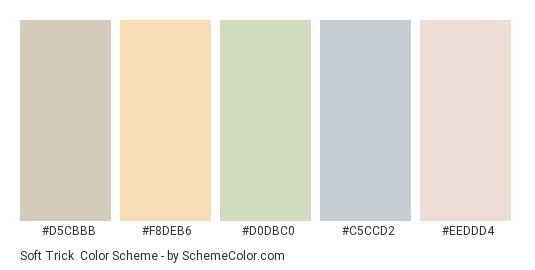 Soft Trick - Color scheme palette thumbnail - #d5cbbb #f8deb6 #d0dbc0 #c5ccd2 #eeddd4