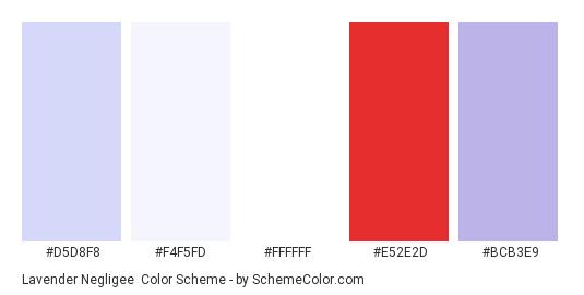 Lavender Negligee - Color scheme palette thumbnail - #d5d8f8 #f4f5fd #ffffff #e52e2d #bcb3e9