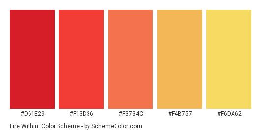 Fire Within - Color scheme palette thumbnail - #d61e29 #f13d36 #f3734c #f4b757 #f6da62