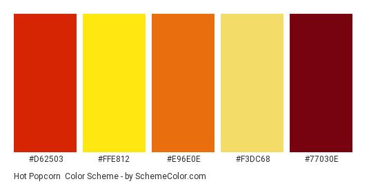 Hot Popcorn - Color scheme palette thumbnail - #d62503 #ffe812 #e96e0e #f3dc68 #77030e
