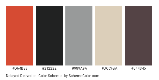 Delayed Deliveries - Color scheme palette thumbnail - #d64b33 #212222 #989a9a #dccfba #544345