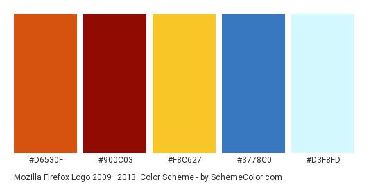 Mozilla Firefox Logo 2009–2013 - Color scheme palette thumbnail - #d6530f #900c03 #f8c627 #3778c0 #d3f8fd