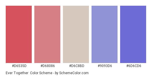 Ever Together - Color scheme palette thumbnail - #d6535d #d68086 #d6c8bd #9093d6 #6d6cd6