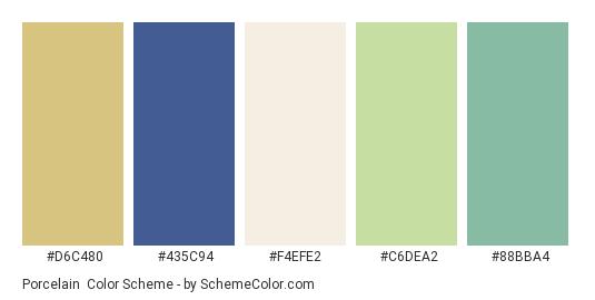 Porcelain - Color scheme palette thumbnail - #d6c480 #435c94 #f4efe2 #c6dea2 #88bba4