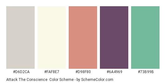 Attack the Conscience - Color scheme palette thumbnail - #d6d2ca #faf8e7 #d98f80 #6a4969 #73b99b