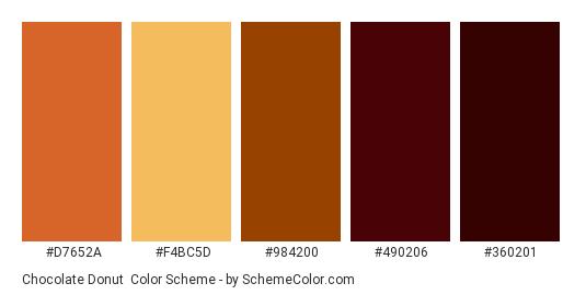 Chocolate Donut Color Scheme Palette Thumbnail D7652a F4bc5d 984200 490206
