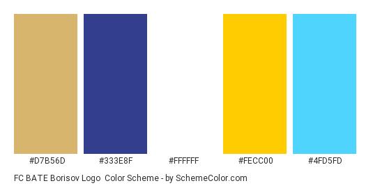 FC BATE Borisov Logo - Color scheme palette thumbnail - #d7b56d #333e8f #ffffff #fecc00 #4fd5fd