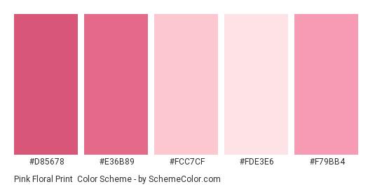 Pink Floral Print - Color scheme palette thumbnail - #d85678 #e36b89 #fcc7cf #fde3e6 #f79bb4