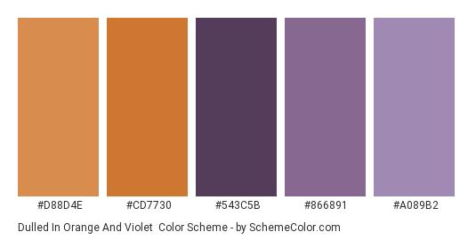 Dulled in Orange and Violet - Color scheme palette thumbnail - #d88d4e #cd7730 #543c5b #866891 #a089b2
