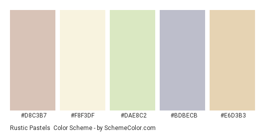Rustic Pastels - Color scheme palette thumbnail - #d8c3b7 #f8f3df #dae8c2 #bdbecb #e6d3b3