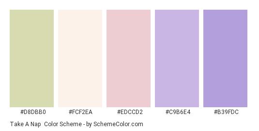 Take a Nap - Color scheme palette thumbnail - #d8dbb0 #fcf2ea #edccd2 #c9b6e4 #b39fdc