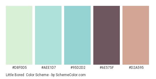 Little Bored - Color scheme palette thumbnail - #d8f0d5 #aee1d7 #95d2d2 #6e575f #d2a595