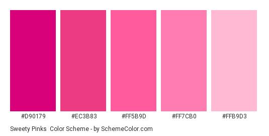 Sweety Pinks - Color scheme palette thumbnail - #d90179 #ec3b83 #ff5b9d #ff7cb0 #ffb9d3