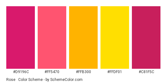 Rose & Gold - Color scheme palette thumbnail - #d9196c #ff5470 #ffb300 #ffdf01 #c81f5c