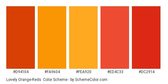 Lovely Orange-Reds - Color scheme palette thumbnail - #d94104 #fa9604 #fea920 #ed4c33 #dc2914