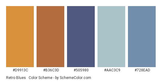 Retro Blues & Orange - Color scheme palette thumbnail - #d9913c #b36c3d #505980 #aac3c9 #728ead