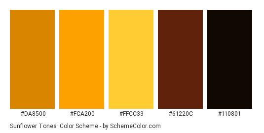Sunflower Tones - Color scheme palette thumbnail - #da8500 #fca200 #ffcc33 #61220c #110801