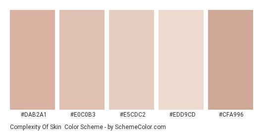 Complexity of Skin - Color scheme palette thumbnail - #dab2a1 #e0c0b3 #e5cdc2 #edd9cd #cfa996