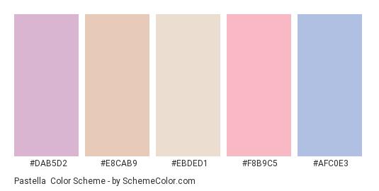 Pastella - Color scheme palette thumbnail - #dab5d2 #e8cab9 #ebded1 #f8b9c5 #afc0e3