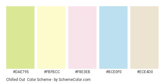 Chilled Out - Color scheme palette thumbnail - #dae795 #fbfbcc #f8e3eb #bce0f0 #ece4d0