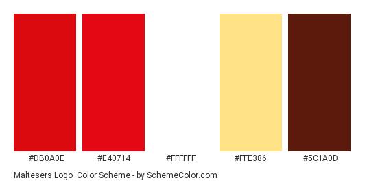 Maltesers Logo - Color scheme palette thumbnail - #db0a0e #e40714 #ffffff #ffe386 #5c1a0d