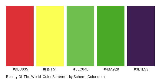 Reality of the World - Color scheme palette thumbnail - #db3035 #fbff51 #6ec04e #4ba928 #3e1e53