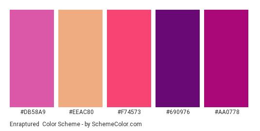 Enraptured - Color scheme palette thumbnail - #db58a9 #eeac80 #f74573 #690976 #aa0778