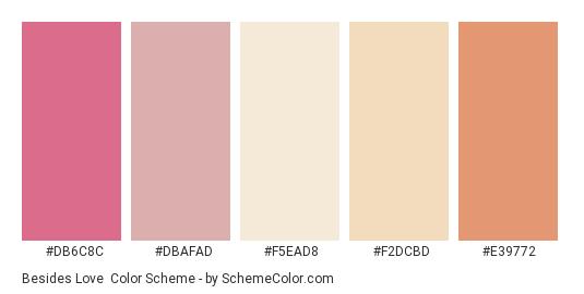 Besides Love - Color scheme palette thumbnail - #db6c8c #dbafad #f5ead8 #f2dcbd #e39772